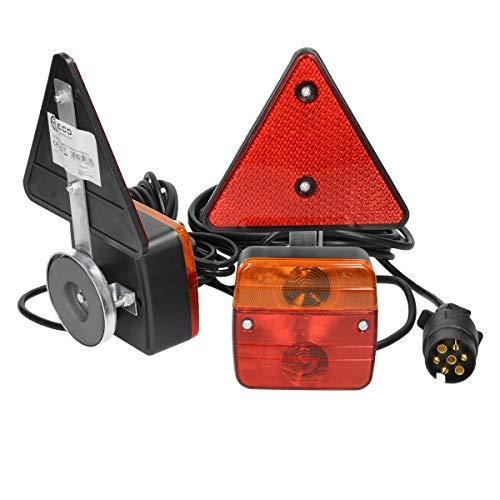ECD Germany Rückleuchten Set für Anhänger mit Magneten - 12V - mit E11 Prüfzeichen - verkabelt mit 7-poligem Stecker - wasserdicht - Anhängerbeleuchtung Beleuchtungssatz Rückstrahler Trailer Satz