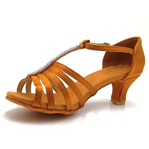 MaNing Zapatos de danza para mujer, con correa para el tobillo, elegantes zapatos de baile Rumba Latin Salsa Prom (marrón, 38 EU)