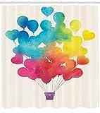 Aquarell Duschvorhang Luftballon Herzdruck für Badezimmer