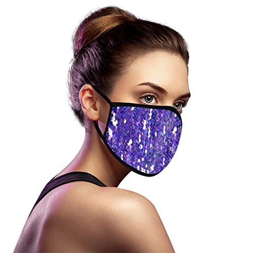 Unisex Adjustable Bling Sequin Washable ReusableWindproof Anti-spitting Protective Cover