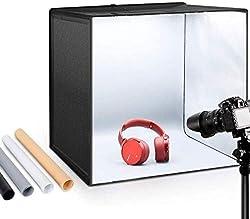 ESDDI Foto Zelte 50x50x50 cm Leuchtkasten Fotostudio Tragbare Faltbare Studiobox LED Beleuchtung mit 120 LED Fotografie Softbox Kit mit 4 Verschiedenen farbigen Hintergründen von ESDDI