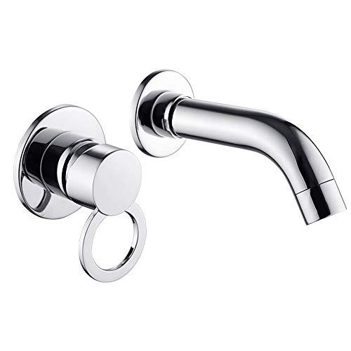 (agua) grifo; grifo; Bibcock estilo europeo gabinete de baño grifo todo cobre dividido dos agujeros caliente y frío grifo de lavabo en la pared oculta grifo de lavabo