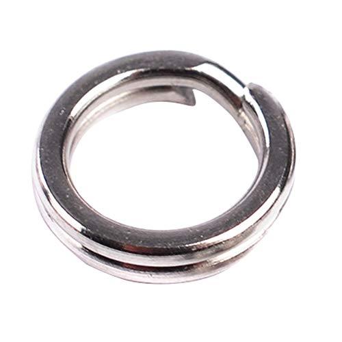 Qingsb Lot de 100 anneaux doubles en acier inoxydable pour pêche à la carpe, Silver 8