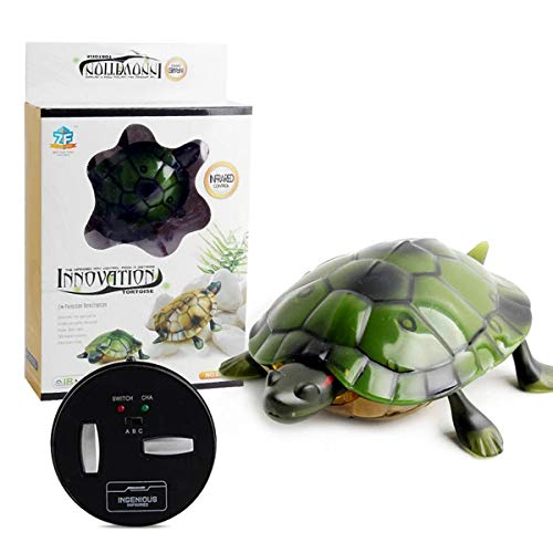 XIAOKEKE Juguete De Tortuga con Control Remoto Infrarrojo, Juguete Complicado – Simulación Realista RC Falsa Batería Juguete Broma Animal Juguete Cumpleaños,Verde
