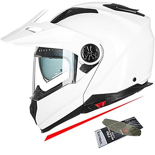 ILM Motorcycle Full Face Modular ATV Helmet Three in One Casco with Pinlock Anti Fog Visor for Men Women DOT(White M)