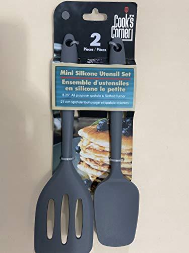Cooks Corner 2-Piece Mini Silicone Utensil Set - Spatula  Spoonula Grey