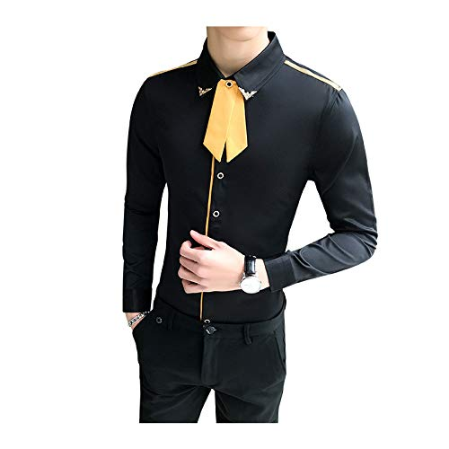 Camisa de Manga Larga Ajustada de Talla Grande para Hombre Tendencia de Moda Simple Todo fósforo Básico Informal Camisa con Botones Top 4XL