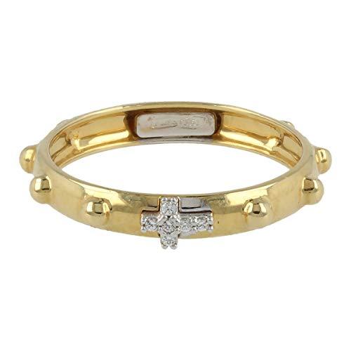 Gioiello Italiano - Anello rosario in oro giallo 18kt con zirconi bianchi, taglia 17, da donna