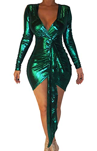 BestGirl Women's Sexy Dress Deep V Neck Long Sleeve Ruched Sparkly Bodycon Club Mini Dresses Green