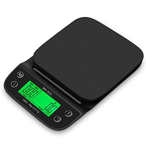 KKmoon WH-B25 Handgemaakte keukenweegschaal met kom en mat van silicone, hittebestendig, waterdicht, LCD-display met hoge resolutie, LED-achtergrondverlichting, groen zwart.