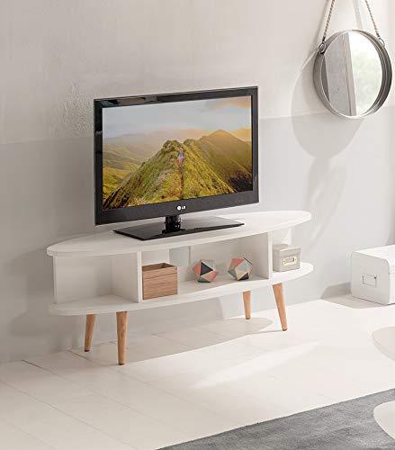 Hogar24-Mesa televisión, Mueble TV salón diseño Vintage con estantes Acabado Madera DM Lacado Blanco y Patas Madera Maciza Natural. Medidas: 120 x 40 x 49 cm.