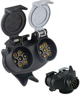 Wakauto 13 Broches /à 7 Broches Remorque Plug Adaptateur Convertisseur Connecteur pour Remorque Caravane Voiture Remorque Convertisseur Convertisseur 12 V Prise