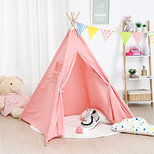 LUVODI Girls Pink Teepee Tent, Children Indian Wigwam Playhouse Toy Portable Foldable Indoor Outdoor Play House with Window for Kid, Toddler Chrismas Bithday Gift