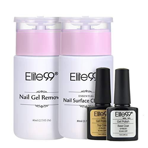 Elite99 Base y Top Coat Semipermanentes, Kit de Esmaltes Semipermanentes en Gel UV LED con Limpiador y Quitaesmaltes