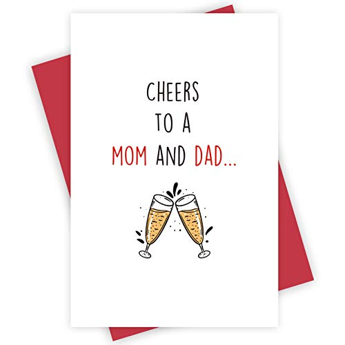 Funny Happy Valentine's Day Card for Kids, Cheers To A Mom and Dad Card, Express Love Card for Child