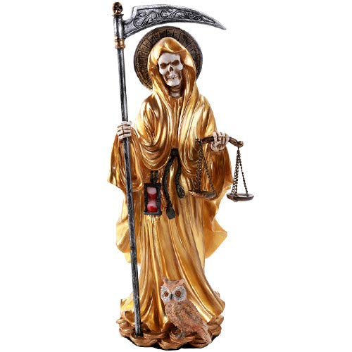 Pacific Giftware Santa Muerte Saint of Holy Death Standing Religious Statue 10 Inch Power Prosperity Success(Gold)