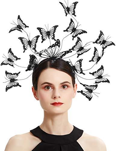 Coucoland Tocado con diseo de mariposa, tocado de Kentucky Derby, tocado de mariposa, estilo bohemio, tocado de mariposa para el pelo, tocado para fiestas, disfraz de Halloween (negro)