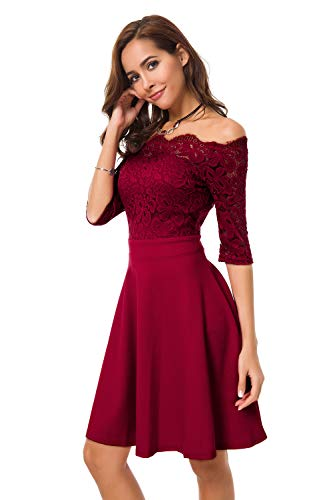 Atnlewhi Womens Vintage Lace Off Shoulder Puffy Swing Dresses Sexy Mini Dress for Party Cocktail,Swing-Wine Red,S
