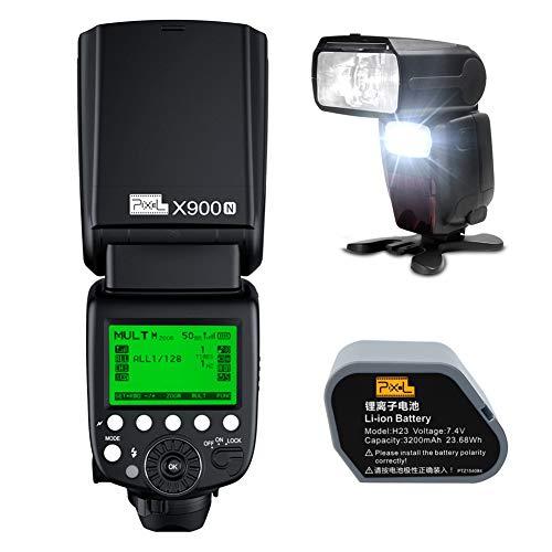 Pixel X900N TTL-Blitz Speedlite GN60, 8000/1s HSS, Master-Slave, 2,4GHz Wireless-Steuerung, 3200 mAh Lithium-Batterie für Nikon D850 D800 D7500 D500 D800 D610 D750 D5600 DSLR-Kamera