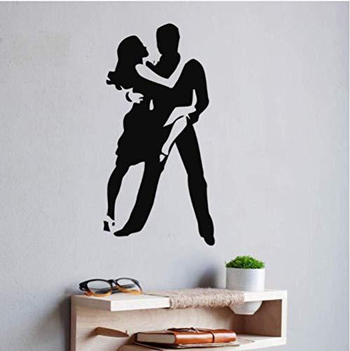 Wandtattoo Vinyl Applique Wandaufkleber Schlafzimmer Romantische Kunst Wandbild Gym Dekoration Leidenschaftliches Tanzpaar 42X83Cm
