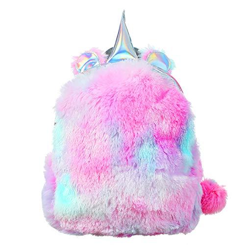 PGYFIS Plush Mini Backpack Girls Schoolbag Cute Soft bookbag Toddler student Travel Backpack (purple)