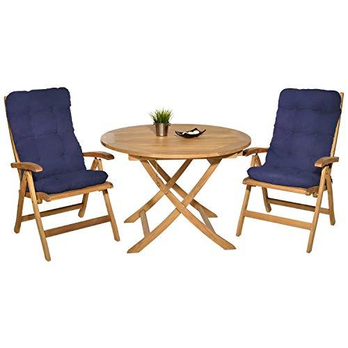 Pack 2 Cojines con Respaldo para Sillas de terraza. Conjunto de 2 Cojines para sillones de Interior y Exterior. Cojín para Silla con Respaldo Cojines Acolchados, terraza. (Azul)