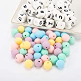 102pcs Silicone Teether Beads- 12mm Babe Teething Silicone Alphabet Letter Beads Chewable Nursing Teething Necklace Chain DIY Beads for Babe Relieving Teething Pain (52pcs Square/50pcs Round)