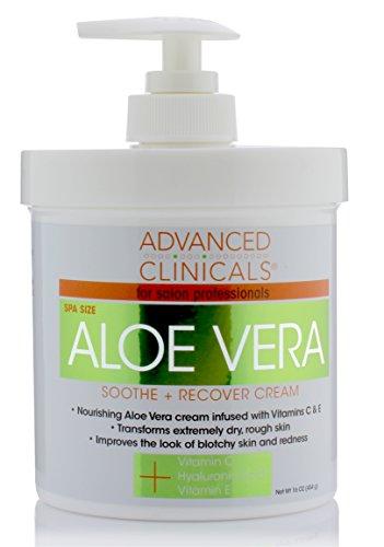 16oz Advanced Clinicals Aloe Vera Cream. Aloe Vera with Vitamin C, Hyaluronic Acid and Vitamin E cream for dry, rough skin, and redness. Large spa size 16oz cream with pump. (16oz)