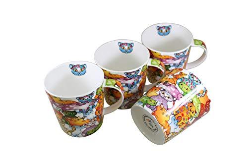 Jameson & Tailor 4er Set Retro Trink-Becher Bunte Katzen Brillant-Porzellan 250ml Füllmenge