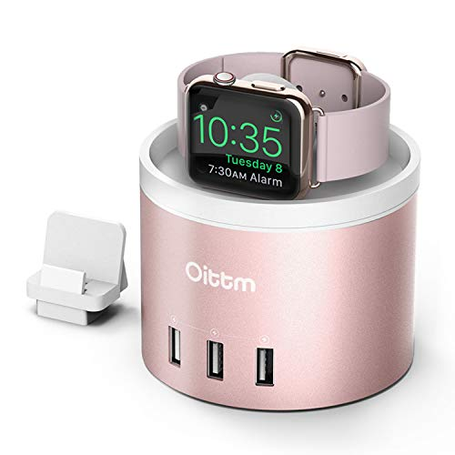 Oittm Apple Watch Series 3 Stand [3 in 1 Bracket Power Dock] 4-Port USB Rechargeable Stand with Phone Holder for iPhone X, iPhone8, 8 Plus, 7, 7 Plus, 6 Plus, iWatch 2/1, Fitbit Blaze (Rose Gold)
