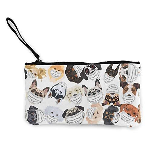 Leinen-Münze, Hunde mit Atemschutz-Geldbörse, Reißverschluss, Kosmetiktasche, multifunktional, Make-up-Tasche, Handytasche, Stifte-Paket mit Griff
