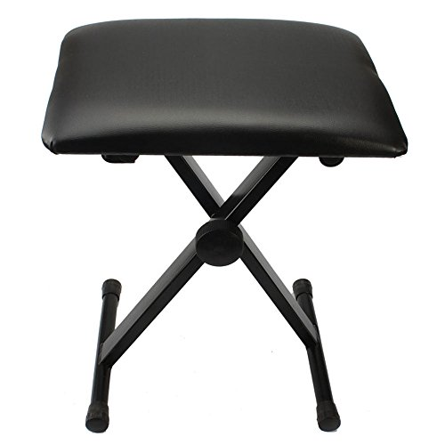 Kuyal Piano Bench, Adjustable Height X-Style Keyboard Bench Padded Seat, Black
