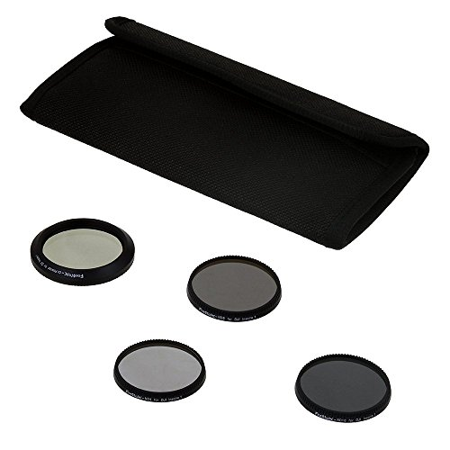 Fotodiox Four (4) Piece Filter Kit for DJI Inspire 1 Drone - ND4, ND8, ND16 & CPL Filters for Zenmuse X3 Gimbal Camera Unit