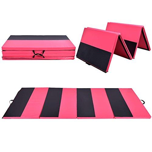 COSTWAY Weichbodenmatte 300 x 120 x 5 cm | Gymnastikmatte klappbar | Yogamatte verbindbar | Turnmatte groß | Klappmatte | Fitnessmatte Farbwahl (Rot/Schwarz)