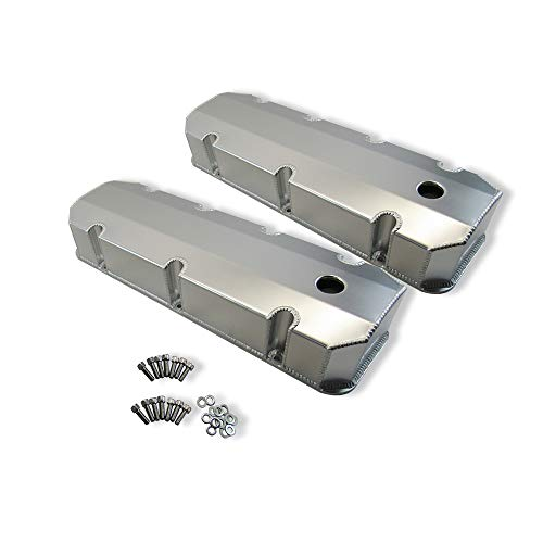 DEMOTOR PERFORMANCE Fabricated Tall Aluminum Valve Cover w/Holes Clear Anodized for BBC Chevy 454