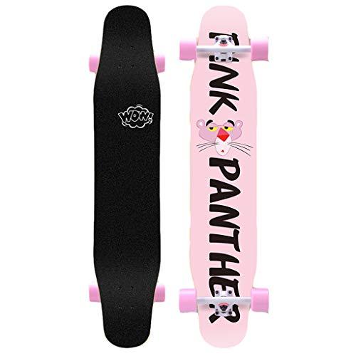 Y-Sport Pro Dance Standard Skateboard 46,4 Zoll x 9,6 Zoll 7Layer Solid Maple Longboard, für Kinder Jugend Erwachsene Anfänger Flat Dropdown Cruiser Pintail Freeride Outdoor RushStreet