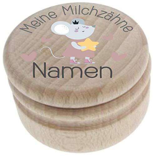 Milchzahndose aus Holz – Meine Milchzähne – Zahndose mit Namen personalisiert – Die Zahnbox hat einen Deckel mit Schraubverschluss - perfekt als kleines Geschenk · Zahnfee - für Jungen & Mädchen - 1