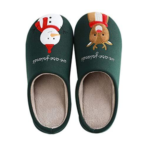 Amosfun Zapatillas de casa de Invierno de Navidad Zapatillas Mantienen Zapatos de casa Calientes Zapatillas Antideslizantes para Parejas