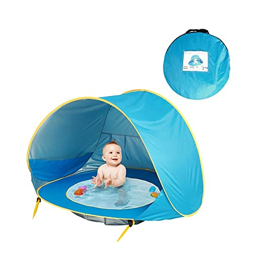 Lihood Baby Beach Tienda Niños Impermeable Pop Up Up Sun Twning Tent UV-Protection Sunshelter con Piscina Kid Al Aire Libre Camping Sombrilla Playa (Color : Blue)