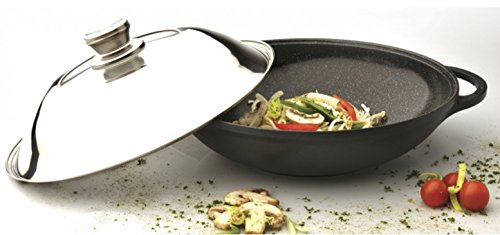 "Eurocast Professional Cookware 12.25"" Chinese Covered Wok with Lid"