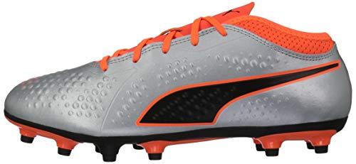 PUMA Unisex ONE 4 Syn FG Jr Soccer Shoe Silver-Shocking Orange Black, 2 M US Big Kid