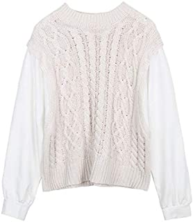 Stitching Two-Piece Twist Knitted Sweater Female Autumn Loose Casual top (Color : Beige, Size : M)