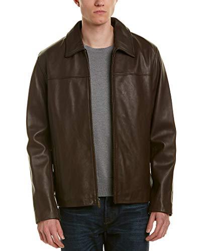 Cole Haan Men's Smooth Lamb Leather Shirt Collar Jacket, Java, Large