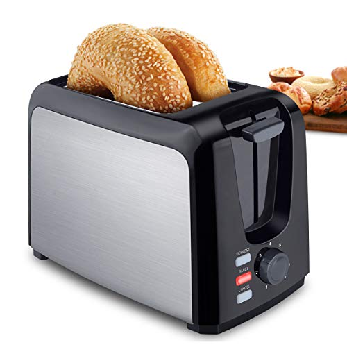 Toaster 2 Slice Stainless Steel Toaster Two Slice Toaster with Removable Crumb Tray Toaster Wide Slot Toasters 2 Slice Best Rated Prime with 7 Bread Shade Settings and Bagel, Defrost, Cancel Function for Bread, Waffles