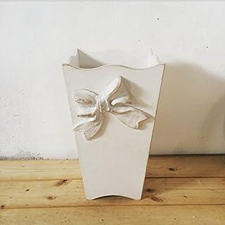 Portaombrelli in legno stile shabby decorato a mano con fiocco, bianco