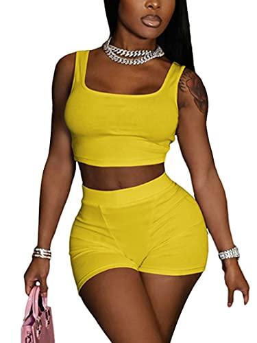 Conjunto sexy de 2 piezas de pantalones cortos para mujer + cintura alta bodycon pantalones cortos clubwear verano