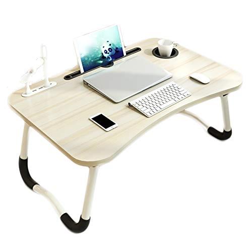 Mesa plegable, cama simple para dormitorio, dormitorio, estudio, escritorio, portátil, escritorio, cama, mesa pequeña (manzana blanca)