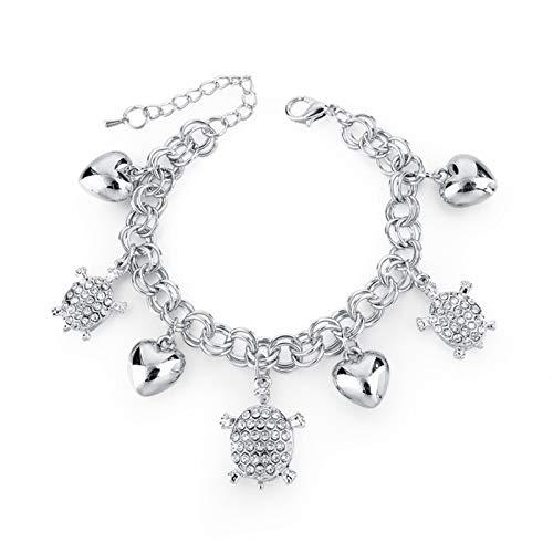 CLEARNICE Nuevas Pulseras y brazaletes de Tortuga con Dije de corazón de Plata para Mujer, joyería, Pulsera Ajustable de Acero Inoxidable y Cristal