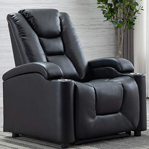 ANJ Electric Power Recliner Chair with Cup Holders and Adjustable Headrest, Breathable Bonded Leather Classic Single Sofa Home Theater Recliner Seating w/USB Port-D0097, Black