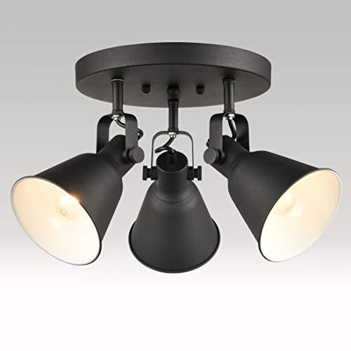 EUL Multi-Directional Ceiling Spot Light,Adjustable Round Track Lighting,Semi Flush Mount Matte Black-3 Light